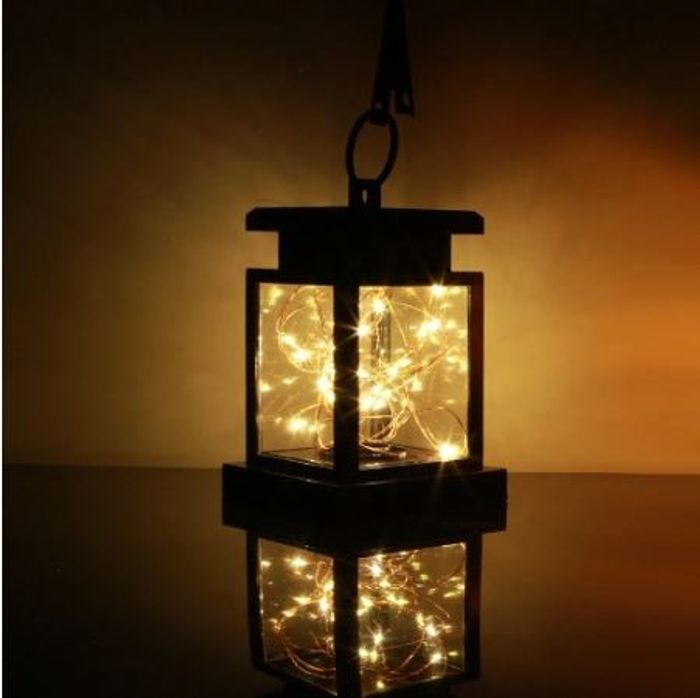Solar Powered Flickering Candle Lantern with Built in Battery