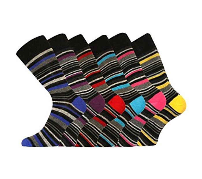 6 Pk Mens Pierre Calvini Luxury Stripe Socks - Just £3.70 from Amazon!