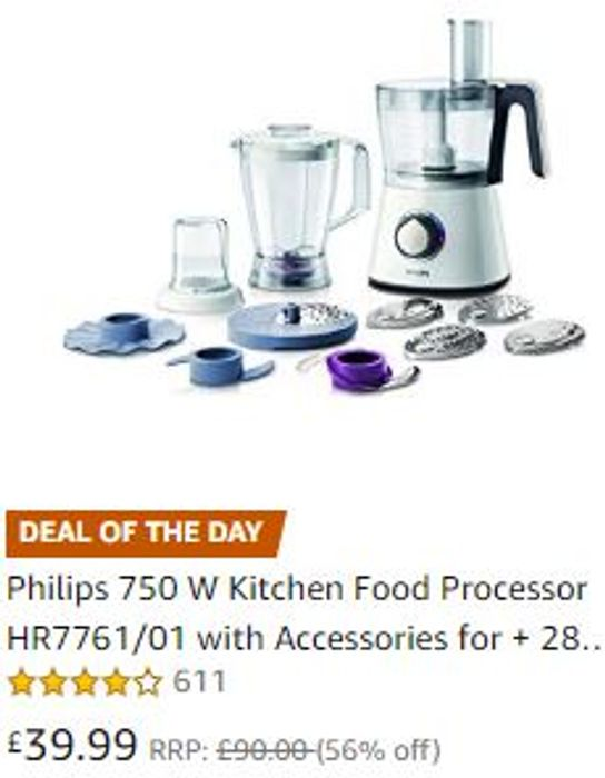 SAVE £50! Philips 750 W Kitchen Food Processor with Accessories + 28 Functions
