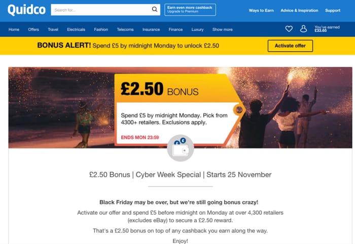 Cyber Week Bonus on Quidco