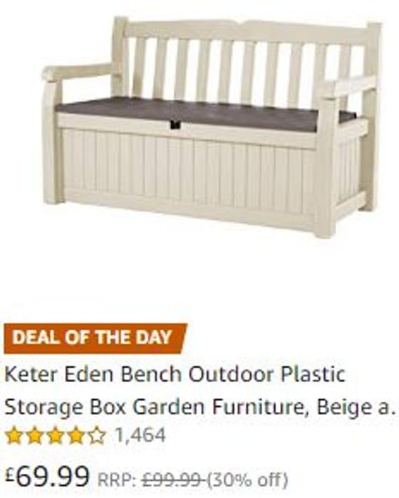 Keter Eden Bench OUTDOOR Plastic Storage Box Garden Furniture Storage WOOD Seat