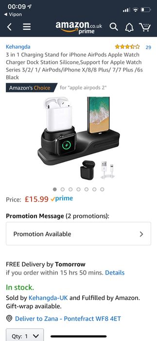 3 in 1 iPhone,AirPods Apple Watch Charging Stand