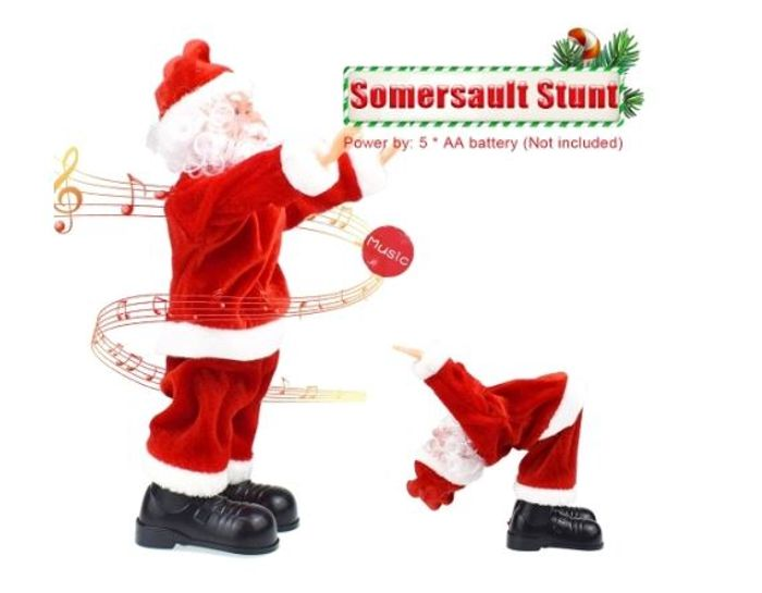 Santa Claus Somersault Stunt and Singing Christmas Songs
