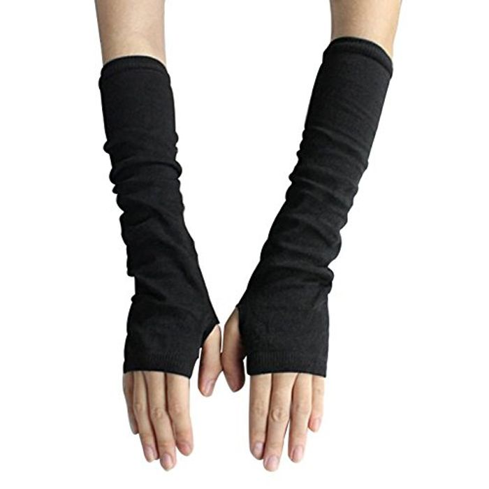 Fashion Women's Knit Wrist Arm Fingerless Hand Long Mitten Gloves Deal