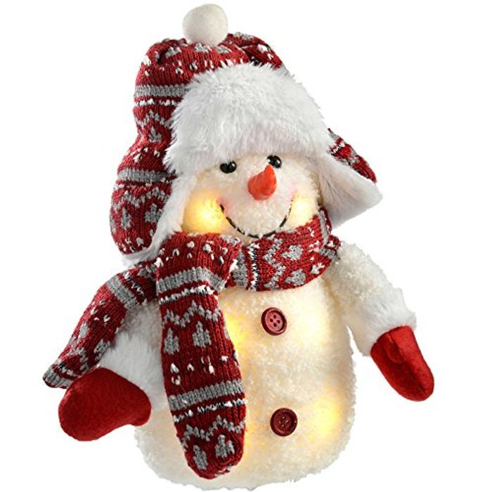 WeRChristmas Pre-Lit LED Snowman with Fairisle Knitted Outfit