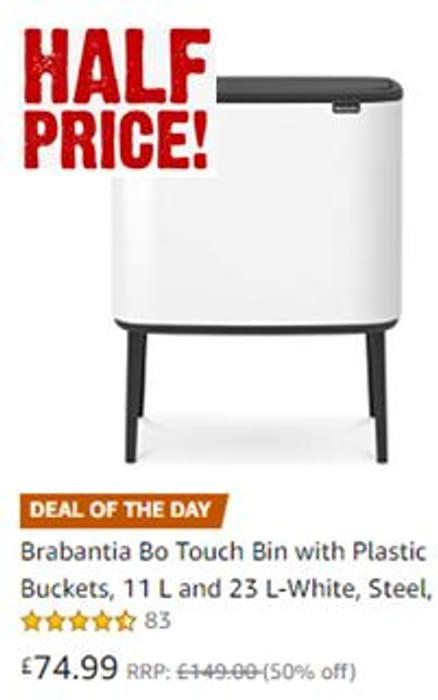 Brabantia Touch Bin 50 Liter Wit.1 2 Price On Sunday Brabantia Bo Touch Bin With Plastic Buckets