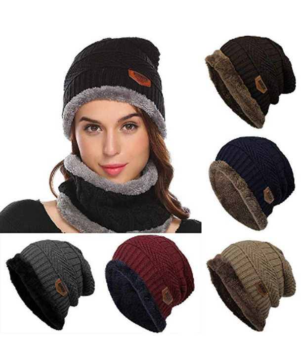 Contrast Color Beanie Knitted Warm Winter Hat Caps
