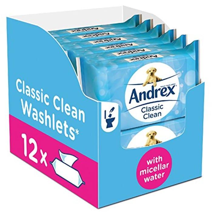Andrex Washlets Flushable Toilet Roll Tissue Wipes
