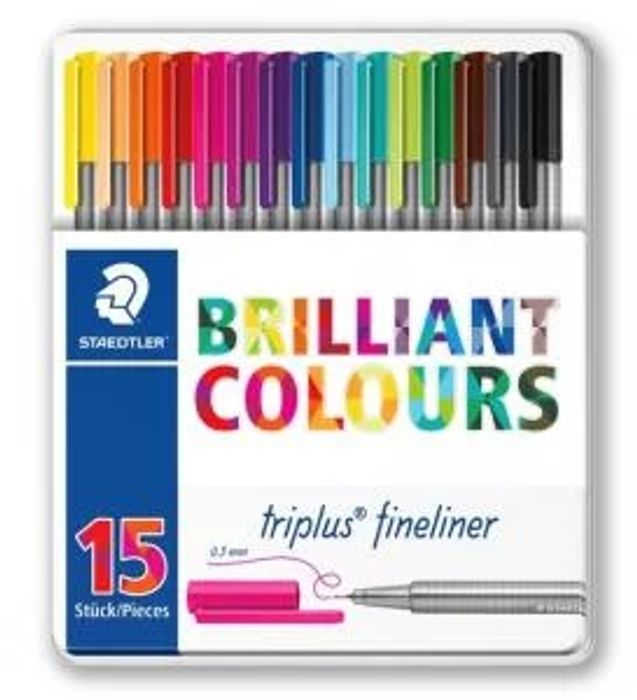 Staedtler Triplus Fineliner Tin of 15 Assorted Colours