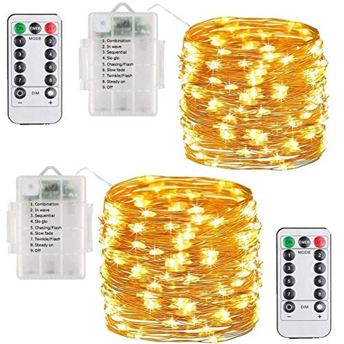 LED Fairy Lights String Copper Wire Lights- 100LEDs 33ft 8 Modes