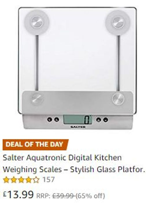 FRIDAY DEAL! 65% OFF Salter Digital Kitchen Weighing Scales Glass Platform