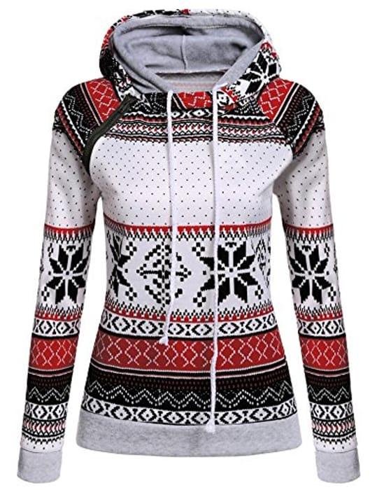 Women Long Sleeve Snowflake Print Pullover Hoodie