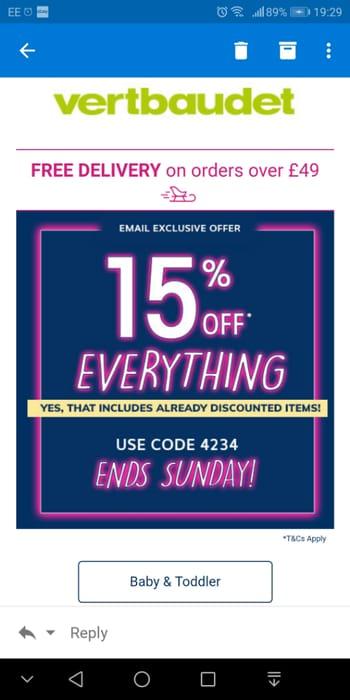 15% off EVERYTHING! Vertbaudet