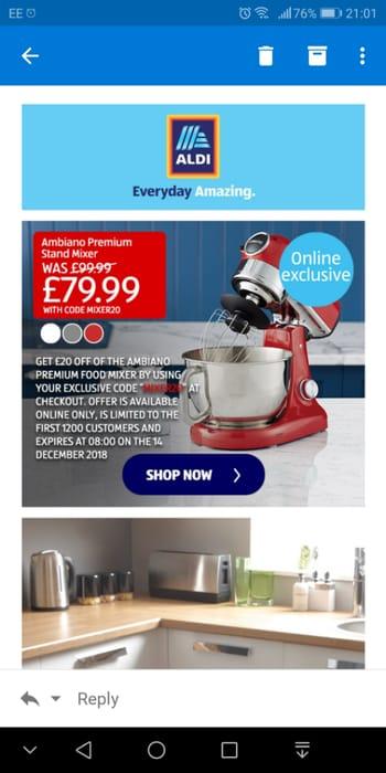 £20 off Ambiano Premium Stand Mixer