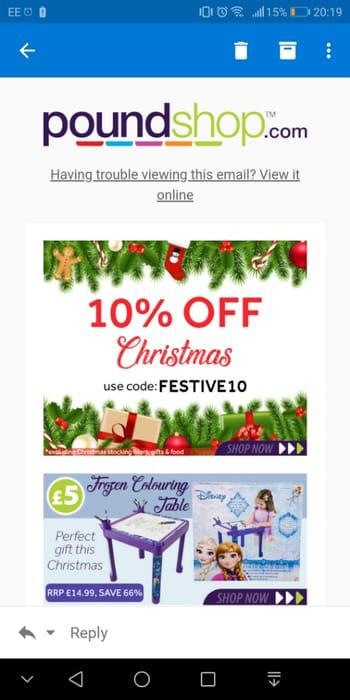 10% off Christmas Items - Poundshop