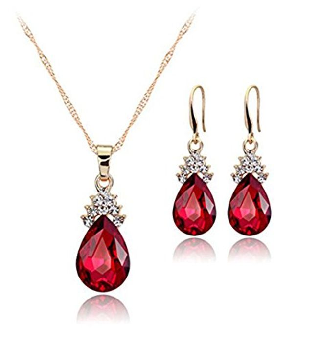 Ruby Earrings and Matching Necklace Set