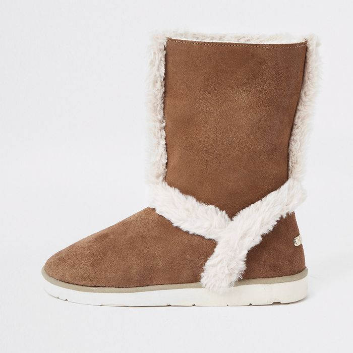 Brown Suede Faux Fur Lined Boots Only £20