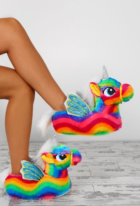 Magic at Midnight Rainbow Unicorn Slippers