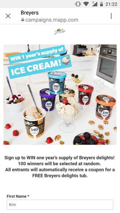 Free Ice Cream 500ml Tub