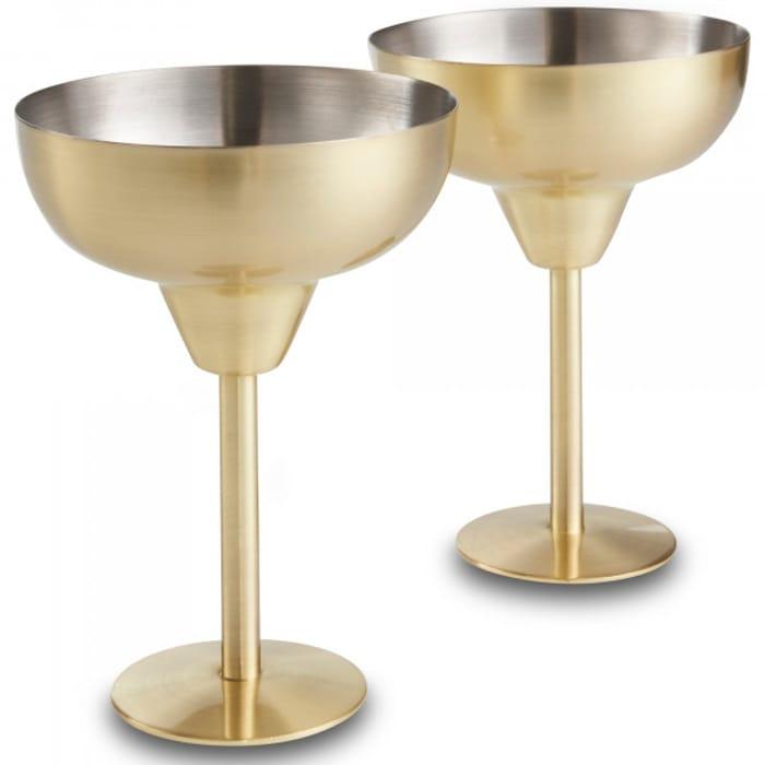 Brushed Gold Margarita Glasses