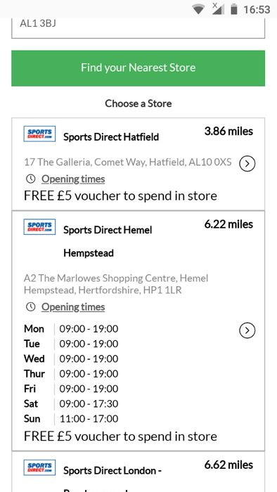 Free £5 Voucher with Click and Collect Purchases at Sports Direct