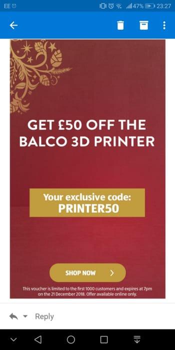 £50 off 3D Printer at Aldi