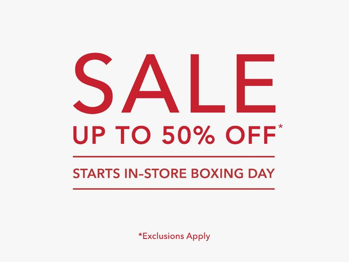 Fenwick Sale Starts Boxing Day! up to 50% off Selected Lines