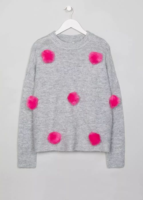 Girls Candy Couture Pom Pom Jumper