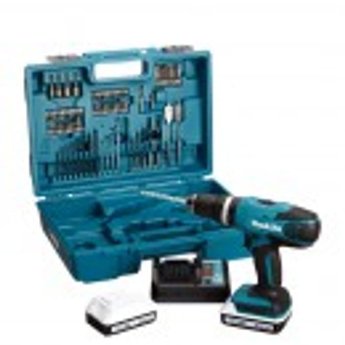 Makita HP457DWE10 18V 1.5Ah Cordless Combi Drill & 74 Piece Accessory Set