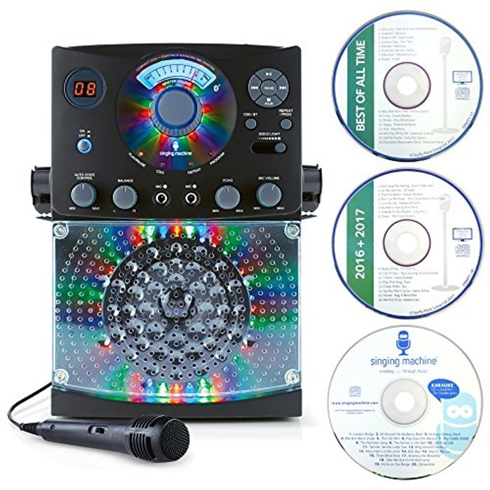 Singing Machine Karaoke Equipment, 1 Microphone and 36 Current Tracks, Black