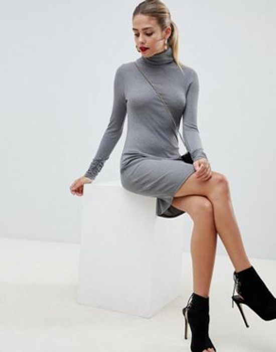ASOS DESIGN High Neck Rib Mini Dress with Long Sleeves