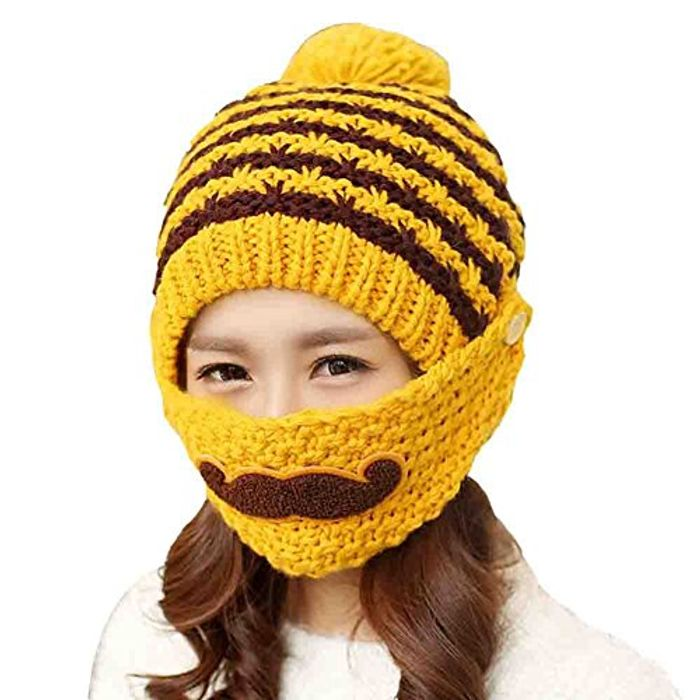 Stripe Knit Crochet Beanie Hat with Moustache Face Mask - 99p Delivery