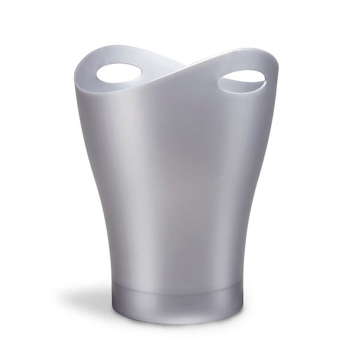 Umbra Garbino Can Wastepaper Basket - Glossy Silver