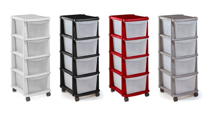 Home 4 Drawer Plastic Tower Storage Unit Only £8.99