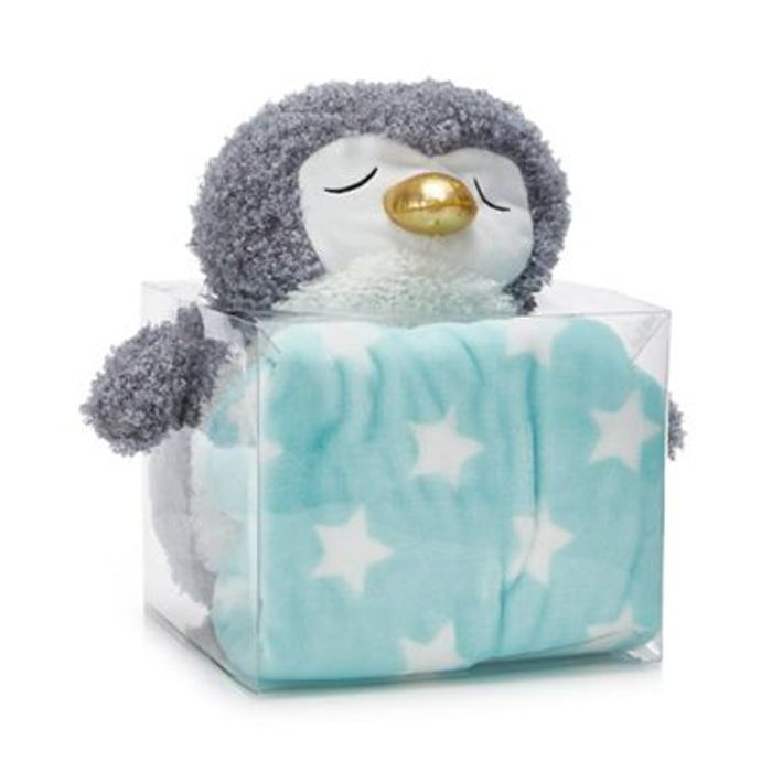 Snuggle Me - Grey Penguin Plush with Blanket