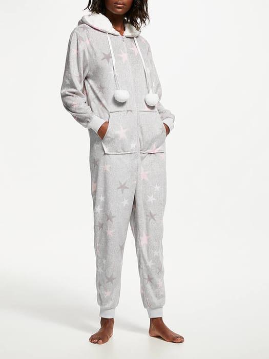John Lewis & Partners Star Print Fleece Onesie, Grey Only £8