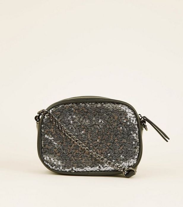 Pewter Sequin Camera Bag