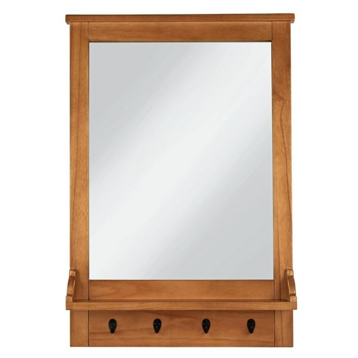 Wall Mirror with Hooks - Wood