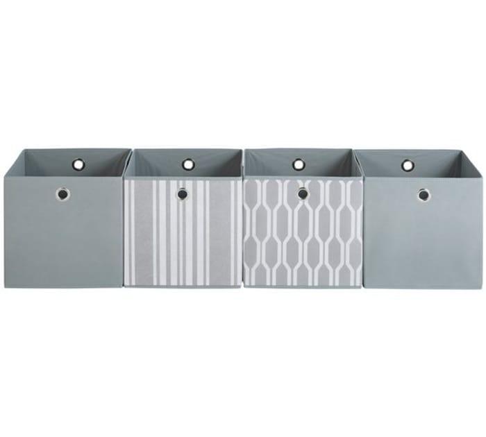 Argos Home Set of 4 Non Woven Boxes - Grey Geo Only £8.49