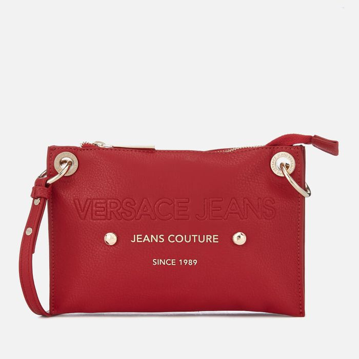 Versace Jeans Women's Logo Cross Body Bag - Red Free Delivery