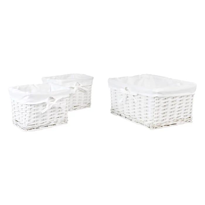 Set of 3 White Baskets