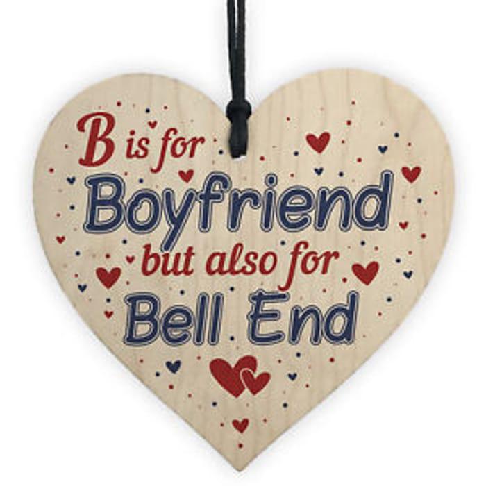 B is for Boyfriend Wooden Heart Keepsake Plaque