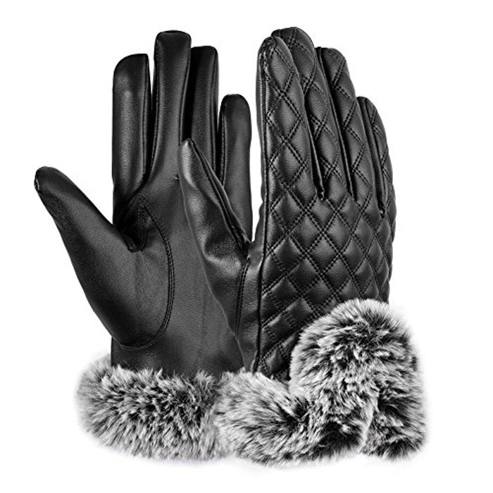 Womens Gloves PU Leather Touch Screen Winter Gloves