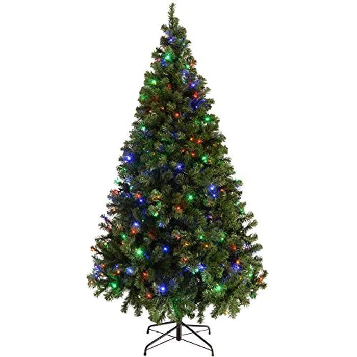 WeRChristmas Pre-Lit Spruce Multi-Function Christmas Tree, 2.1 M - 7 Feet Lights