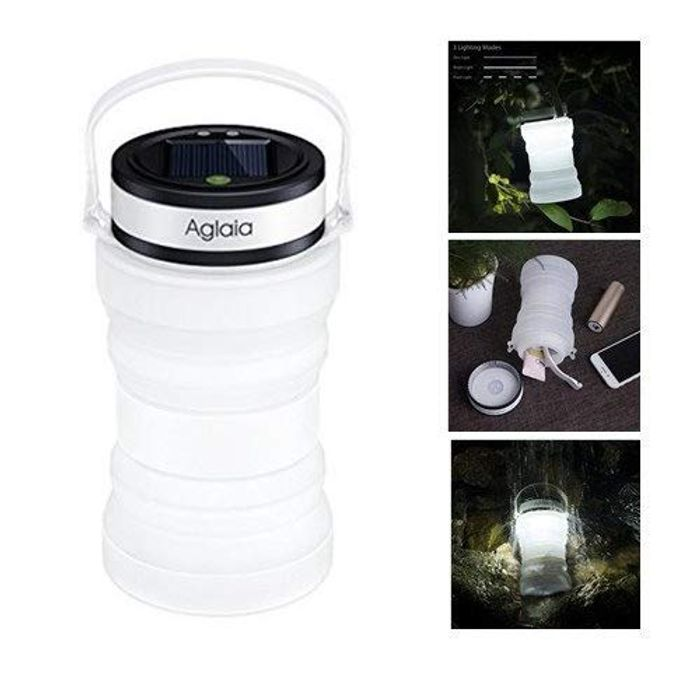 Lantern, Solar & USB Collapsible Rechargeable LED Lamp with 800mAh Power Bank