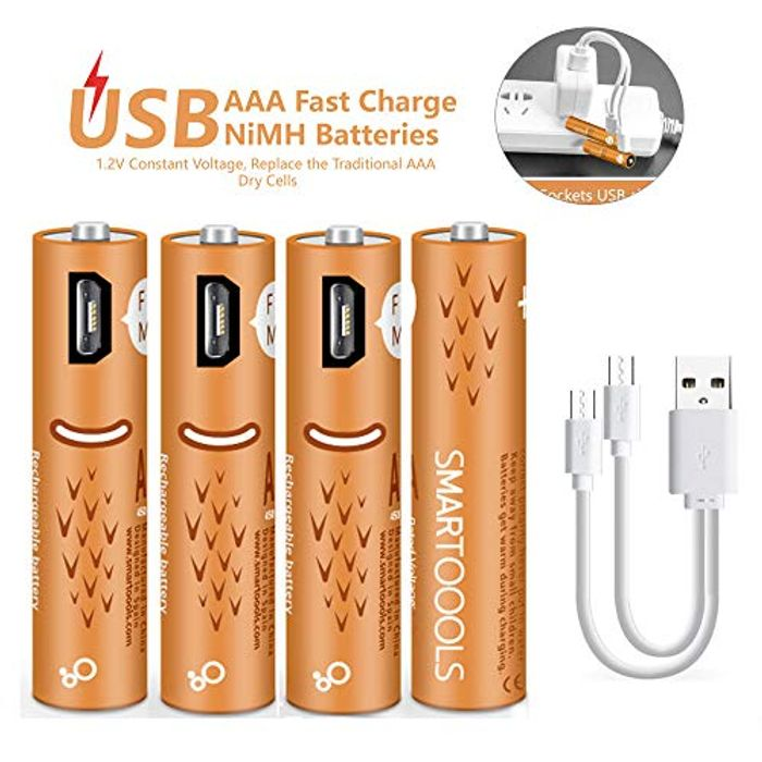 USB Rechargeable AAA Batteries 450mAh with USB Ports High Capacity 1.2V