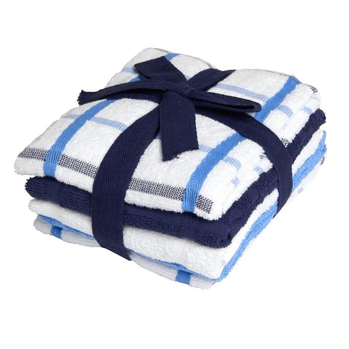 Wilko Terry Tea Towel Blue and White 5pk 45 X 60cm Free C&C