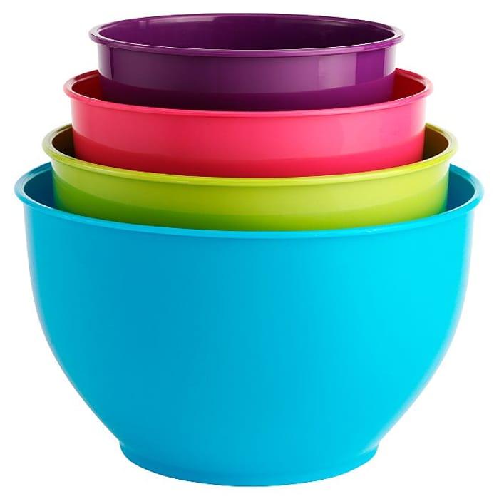 4 Piece Coloured Mixing Bowl Set