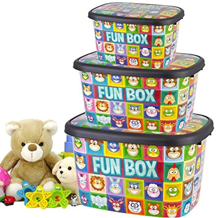 Toy Shop Set of 3 Large Jumbo Plastic Storage