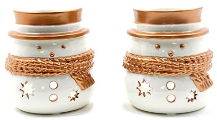 2 Yankee Snowman Tealight Holders